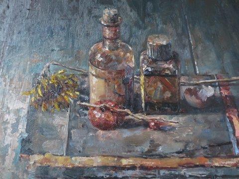 René Jansen, Vloerstilleven met twee flesjes en bloemen